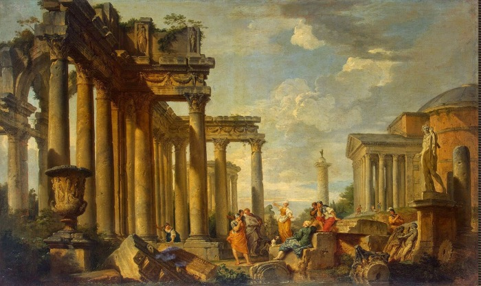 Giovanni_Paolo_Pannini_-Roman_Ruins_with_the_Statue_of_Apollo,_1740s